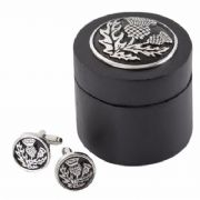 Scottish Thistle Cufflinks With Wooden Box